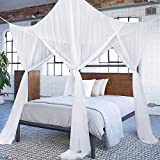 Diagtree 4 Poster Bed Canopy White Mosquito Netting Covers (White, 4 Corner Post)