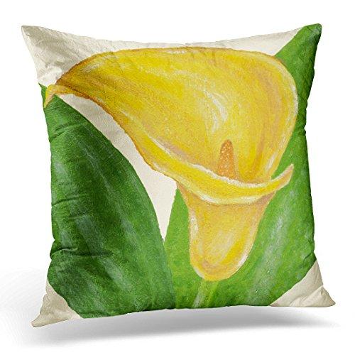 Calla Lilies Bordered (VANMI Throw Pillow Cover Green Calla Yellow Brown Flower Decorative Pillow Case Home Decor Square 18x18 Inches Pillowcase)