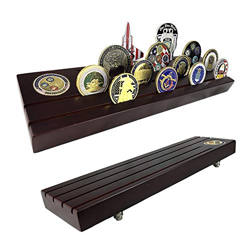 Row Display Coin (4 Rows Military Challenge Coin Display Holder Stand Rack Holds 28 Coins (Large, Wooden))