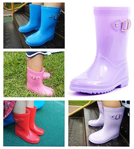 Pictures of MOFEVER Toddler Girls Kids Rain Boots Waterproof MFULP18BPUR10 7
