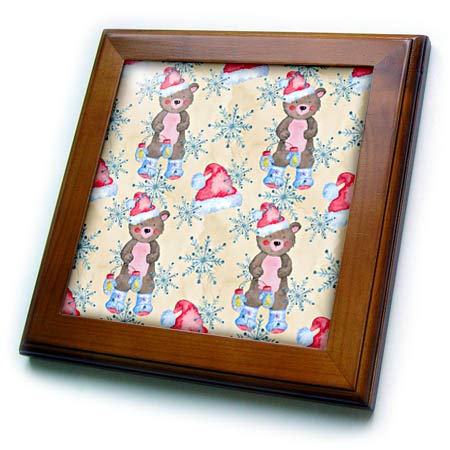 3dRose Anne Marie Baugh - Christmas - Cute Christmas Image of Watercolor Bears and Snowflakes Pattern - 8x8 Framed Tile (ft_318548_1)
