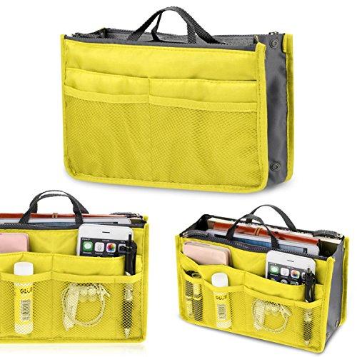 Multifunktions Handtaschenordner Handtasche,Sondereu Damen Kosmetiktasche Herren Aufbewahrung Reisetasche Make-up Doppel-Reißverschluss Trading Tasche 11 Farben (Gelb)