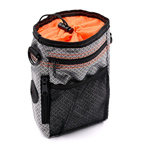 DXABLE Dog Training Pouch Treat Bag Dual Compartments Insulated - with Poo Bag & Collapsible Travel Bowl & Pet Clicker - Travel Walking Bag (Orange) (Drawstring Compartment Has Main)
