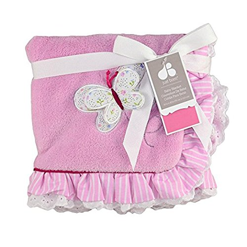 Just Born Plush Baby Antique Chic Blanket, Pink Ruffles - Antique Baby Bedding