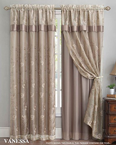 Regal Floral Valance - Double Layer Embroidered Window Curtain: Floral Design, Attached Valance, 55