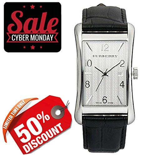 Burberry-Men-Unisex-Women-Watch-Heritage-SWISS-LUXURY-Tonneau-Stainless-Steel-White-Date-Dial-Black-Leather-Band-40-mm-x-23mm-BU3002