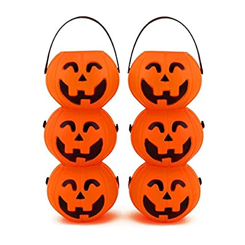 Adorox Small Mini Plastic Jack O Lantern Pumpkin Halloween Party Favor Candy Bucket Table Decoration Props (6)