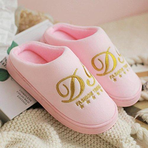 Fankou autunno inverno cotone pantofole pacchetto con coppie di spessore home anti-slittamento casa calda pantofole gli uomini e le donne spesso invernale ,39-40, rosa