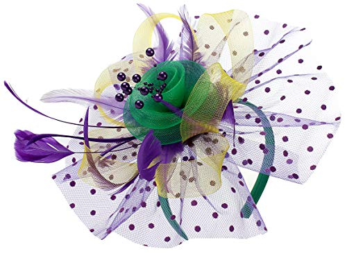 Mardi Gras Headband Cocktail Tea Party Headwear Feather Flower Fascinators Veil Hats Wedding Kentucky Derby Headband Mardi Gras Hats for Women (Yellow&Purple&Green) (Horse Head Hat)