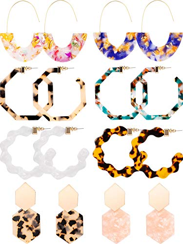 8 Pairs Mottled Acrylic Hoop Earrings Resin Statement Drop Dangle Earrings Polygonal Bohemian Fashion Jewelry Earrings for Women Girls (Style A)