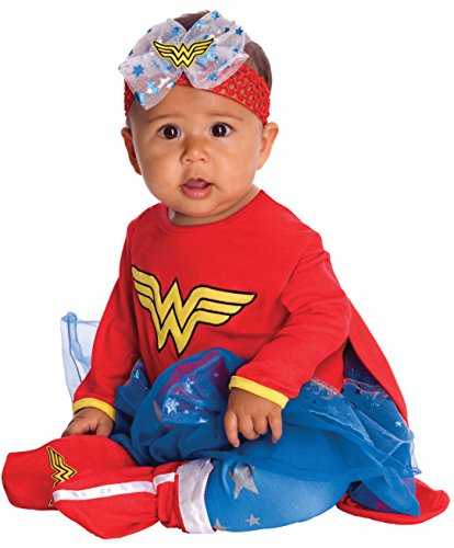 Parent And Baby Halloween Costumes (DC Comics Baby Wonder Woman Onesie And Headpiece, Red, 6-12 Months)