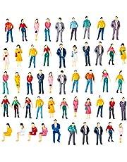 Polai 50 Piezas 1:50 Escala Personas Maqueta Personas Miniatura Maqueta Figuras para Modelismo Ferroviario, Jardines de Hadas, Manualidades