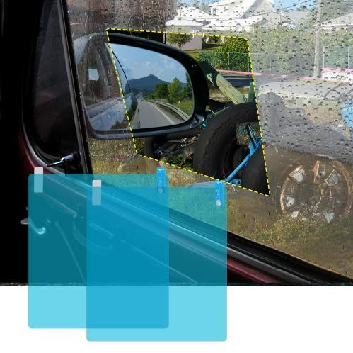 EVERRICH Car Window Film Sticker - Car Waterproof Rearview Mirror Film - Anti-Fog Film Anti-Glare Waterproof and Rainproof - Transparent Film 2 Piece Set (6.887.87in)