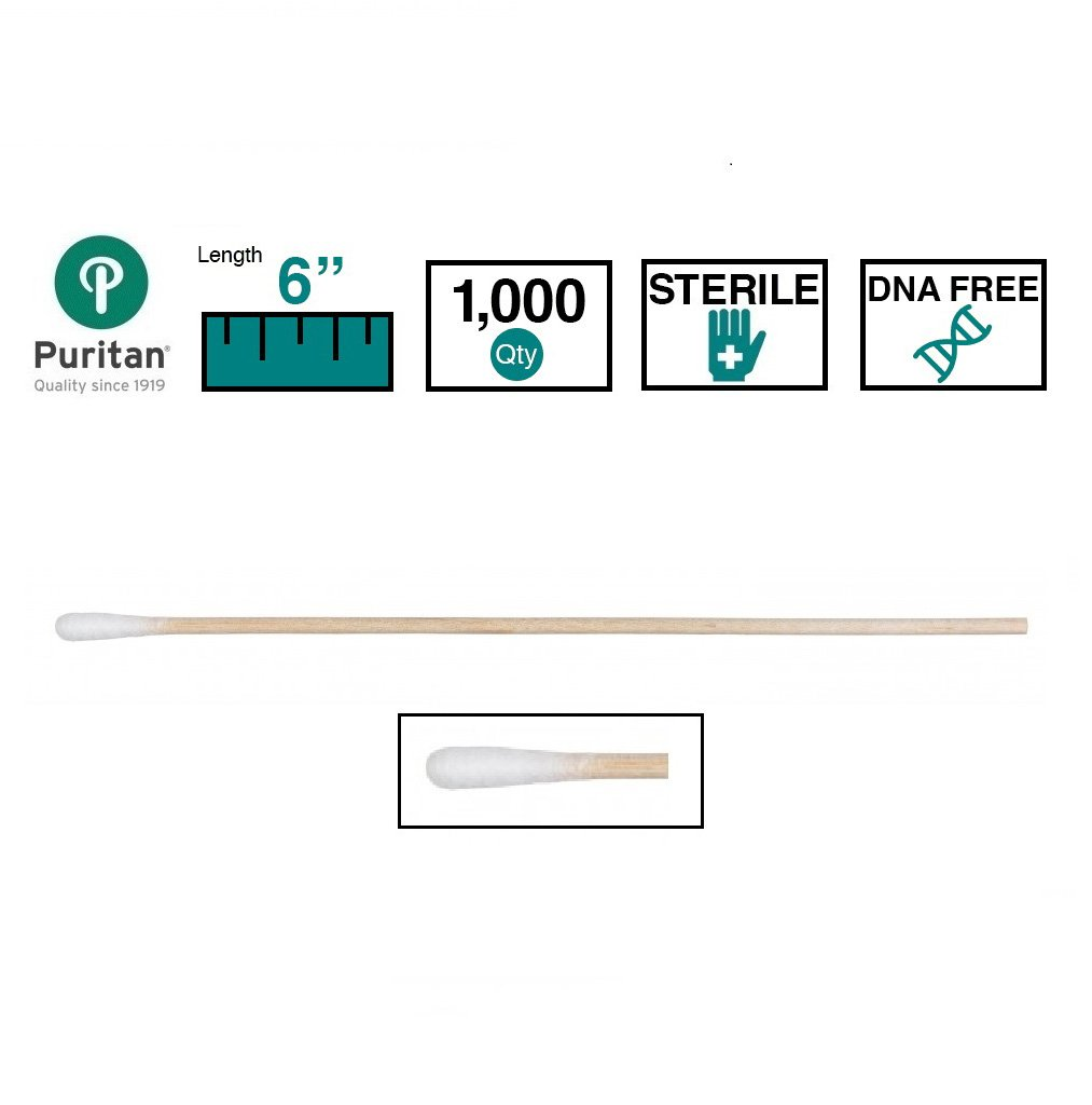 Puritan Cotton DNA / RNase Sterile Free Tipped Applicator with Wood Shaft (Case of 1000)