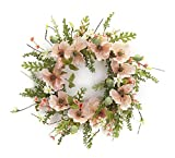 22'' Blossoming Spring and Summer Pink Poppy Flowers with Green Foliage Wreath - Unlit
