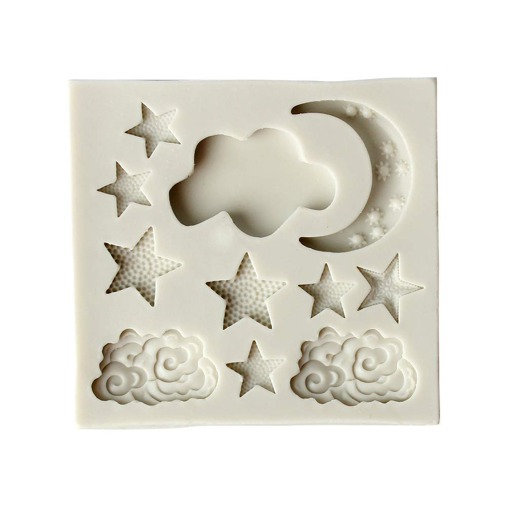 Yevison Premium Quality Cake Mold Food Silicone Fondant Decorating Moon Stars Clouds Shape Mould Cutter Sugar Chocolate Cake Fondant Mold Kitchen Baking Tools (White)