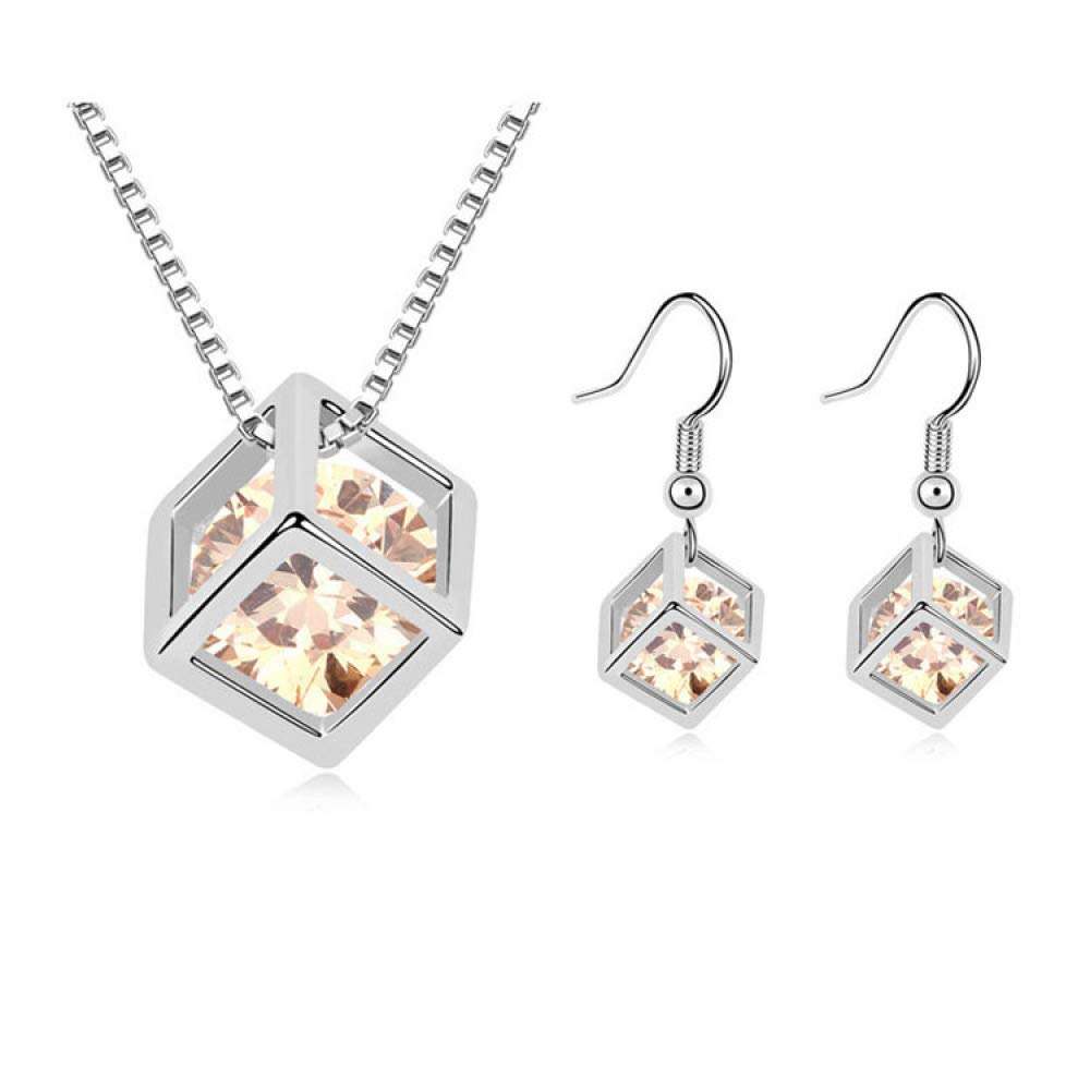 MYYQ AAA Grade Zircon Plated Real Gold Love Crystal Set Necklace Earrings Geometry Set