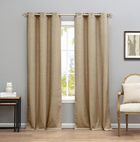Silk Textured Wallpaper (Heavy Textured Solid Foam Back Blackout Grommet Top Window Curtain Pair Panel Insulated Drapes For Bedroom, Livingroom, Kid, Children, Nursery - Assorted Color - 38 by 84 Inch, Set of 2 Panels - Beige)
