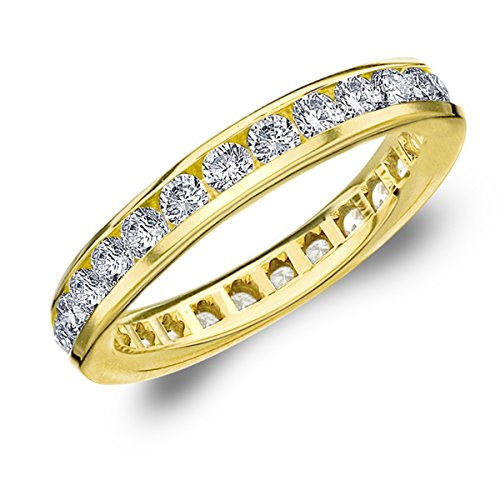 1.5 Carat Eternity Ring In 14K Yellow Gold, Diamond Eternity Anniversary Wedding Band