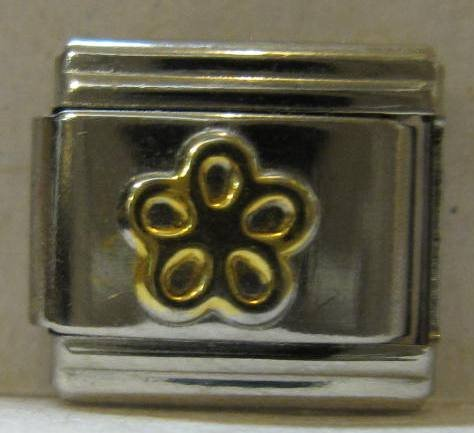 Fruit Italian Charm (9mm Italian Charm... with a Gold Color Five Petal Flower)