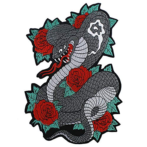 Large Embroidered Rose Snake Back Patches Iron on Motorcycle Jacket Applique Custom Badges 1piece (Patch Back Snake)