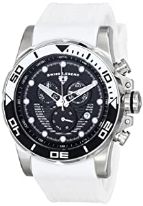 """Swiss Legend Men's 21368-01-WHAS """"Avalanche"""" Stainless Steel Watch with White Silicone Band"""