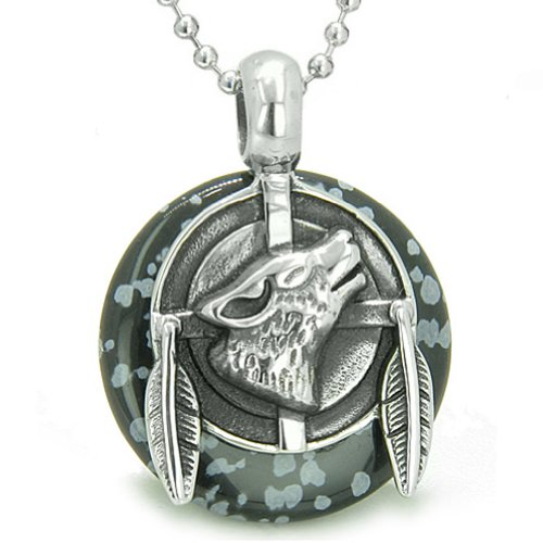 Amulet Howling Wolf Feathers Powers Snowflake Obsidian Lucky Donut Pendant 18 Inch Necklace