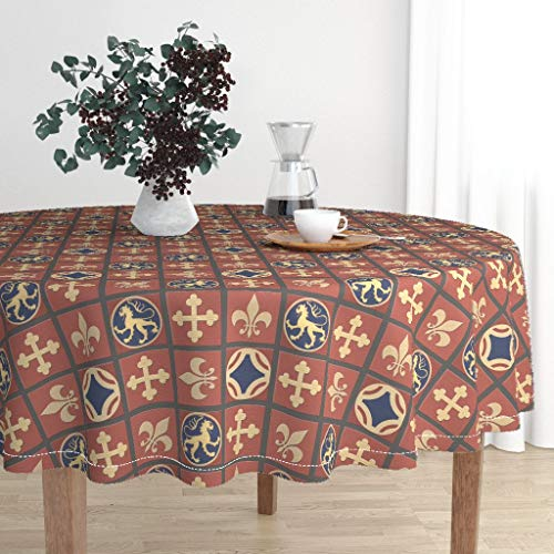 Roostery Round Tablecloth - Medieval Tile Floor Cloth Historic Terra Cotta Fleur De Lis Heraldic by Poetryqn - Cotton Sateen Tablecloth 70in