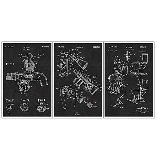 Optional Faucet Set - Plumbing Toilet, Faucet, and Shower Head Patent Prints - Set of 3 Posters