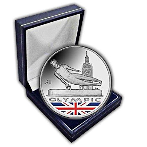 Îles vierges britanniques 2012Jeux Olympiques gymnaste UNC Cuni pièce de monnaie dans une boîte de couleur. Pobjoy Mint Limited
