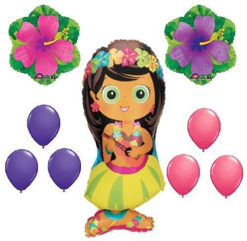 (9p HULA GIRL LUAU BALLOONS hibiscus flower pool tropical birthday party supplies by Lgp)