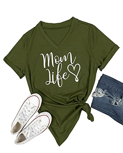 Ofenbuy Womens T Shirts V Neck Short Sleeve Graphic Tee Mom Life Shirt Casual Summer Tops,Large,Army Green Army Mom Green T-shirt