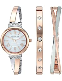 Womens AK/2245RTST Swarovski Crystal Accented Rose Gold-Tone and Silver-Tone Bangle