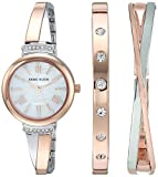 Anne Klein Women's AK/2245RTST Swarovski Crystal Accented Rose Gold-Tone and Silver-Tone Bangle Watch