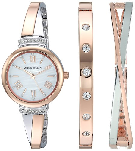 (Anne Klein Women's AK/2245RTST Swarovski Crystal Accented Rose Gold-Tone and Silver-Tone Bangle Watch and Bracelet Set)