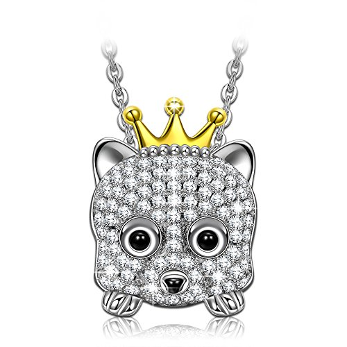NINASUN Princess Annie s925 Sterling Silver Pendant Necklace AAA CZ Puppy Design Jewelry for Women Birthdady Halloween Thanksgiving Christmas Gifts for Girls Her Girlfriend Daughter Sister (How Was Halloween Created)