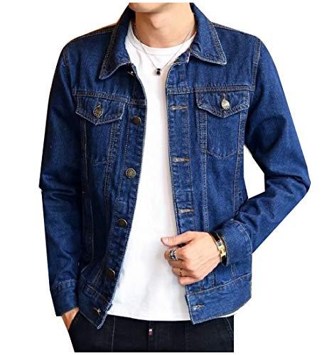 Howme Short Denim Men Jean Jacket Blue Collar Down Pockets Button Dark Coat Turn 88Zxdrwzq