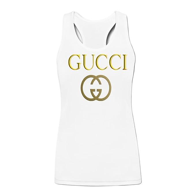ac6b20946ad3bc Neilshan Tank Tops Gucci Logo Women s XXL White  Amazon.ca  Clothing ...
