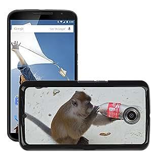 Hot Style Cell Phone PC Hard Case Cover // M00113173 Animal Monkey Drink Bottle // LG Google Nexus 6
