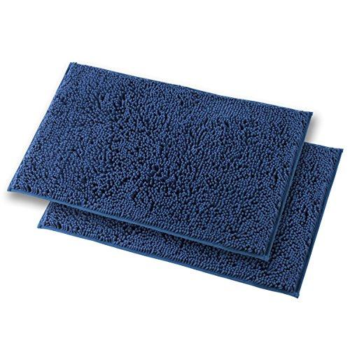 Mayshine Bath mats for Bathroom Rugs Non Slip Machine Washable Soft Microfiber 2 Pack (20×32inches, Dark Blue)