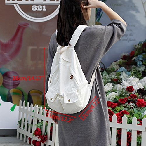 Bag Bookbag Backpacks Shoulder Women Girls Dabixx Gray Travel School blue Canvas Bags Rucksack qwnIYYx6