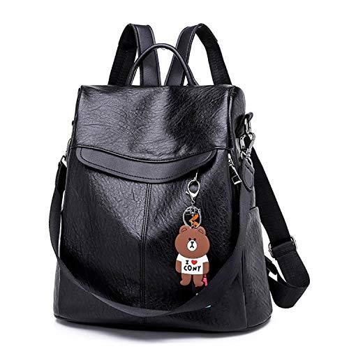 (Women Backpack Leather School Bags Casual Large Capacity Multifunction Retro XA163H Black)