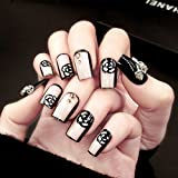 BloomingBoom 24 Pcs 12 Size Full Cover False Fake Nail Artificial Elegant Press on Salon Design Woman Long Natural Pre Design Squoval Ballerina Square Nude Pink Rose Black Bridal