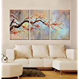 Flower Oil Painting On Canvas Orange Plum Blossom 3 Piece Gallery Wrapped Framed Wall Art Ready To Hang For Living Room For Wall Decor Home Decoration