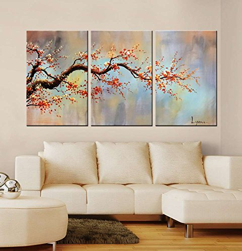 ARTLAND Modern 100% Hand Painted Flower Oil Painting on Canvas Orange Plum Blossom 3-Piece Gallery-Wrapped Framed Wall Art Ready to Hang for Living Room for Wall Decor Home Decoration 24x48inches by ARTLAND