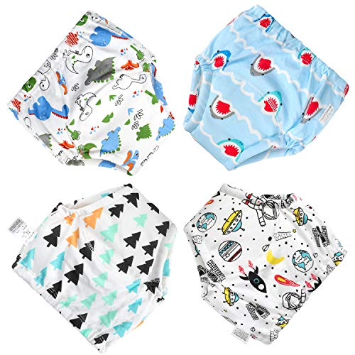 CottonTraininCotton Training Pants 4 Pack Padded New 6 Layels Toddler Potty Training Underwear for Boys and Girls-12M-5T (boy, 3T)