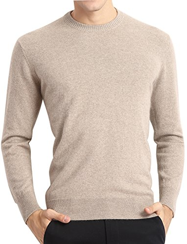 Tan Pullover Sweater (LONGMING Men's Casual Winter Cashmere Wool Crewneck Long Sleeve Pullover Sweater Warm Tops(Tan,M))