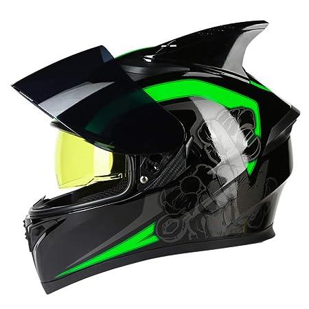 YNWJ Casco Moto Hombre Verde Casco De Moto Modular Casco De ...