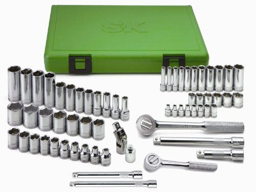 SK Hand Tool 94562 Drive Standard Deep Metric Socket Set in Chrome Finish - 3/8-Inch, 62-Piece Corrosion Resistant Instrument Kit for Mechanical Work. Metal Hardware Tools (Sk Metric Socket Wrench)