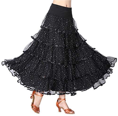 - CISMARK Elegant Sequins Long Swing Ballroom Latin Dance Skirt for Girls(Black)